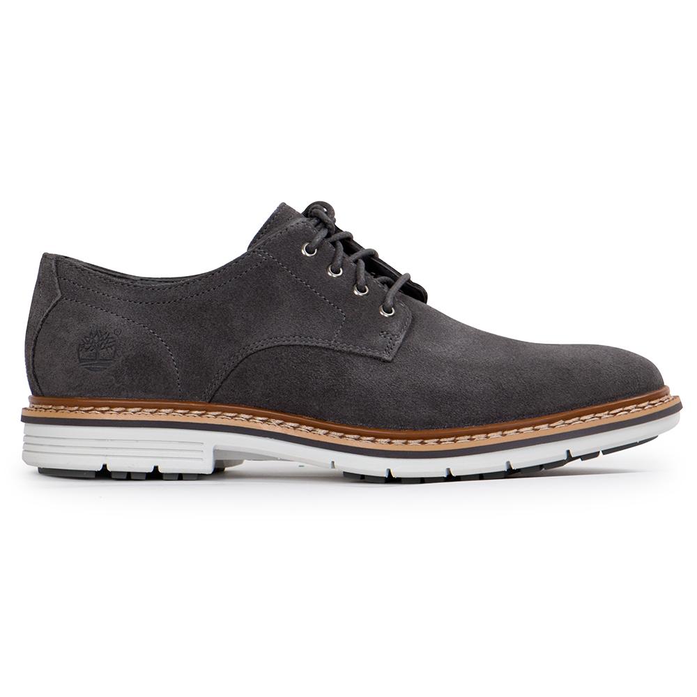 Timberland 男款深灰色素面綁帶休閒鞋