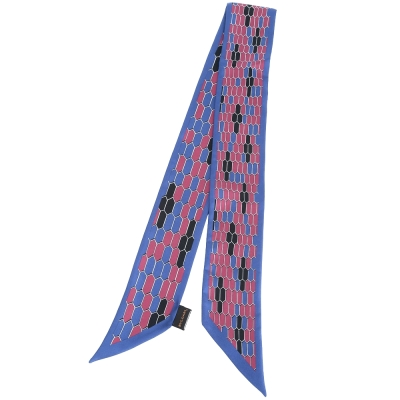 BVLGARI 蛇鱗織紋絲巾/領巾(藍x紅)