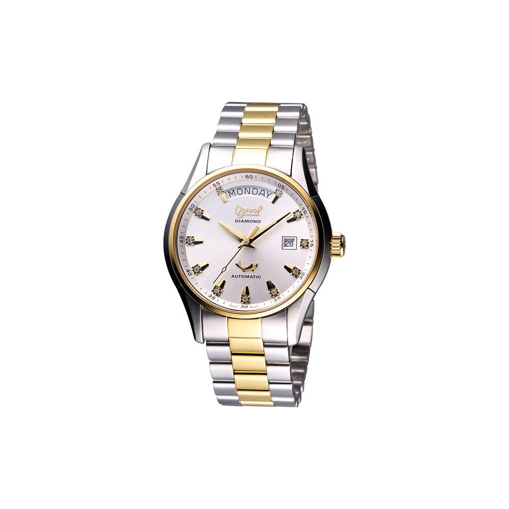 Ogival 愛其華 風華真鑽Day-Date 機械腕錶-半金/40mm