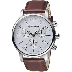 瑞士WENGER Urban都會系列俐落美學三眼指針腕錶(01.1743.101)
