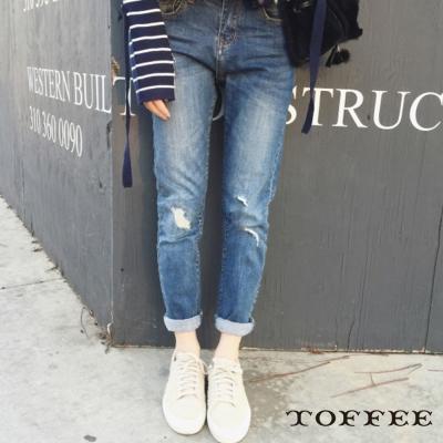 破洞休閒牛仔褲-TOFFEE