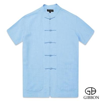 GIBBON 經典木紋感短袖唐裝‧青藍M~3L