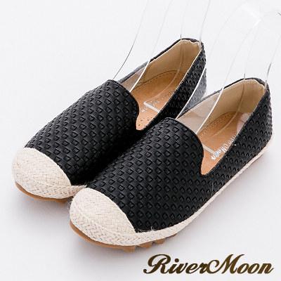 River&Moon樂福鞋-立體編織真皮麻編Q軟懶人便鞋-黑系
