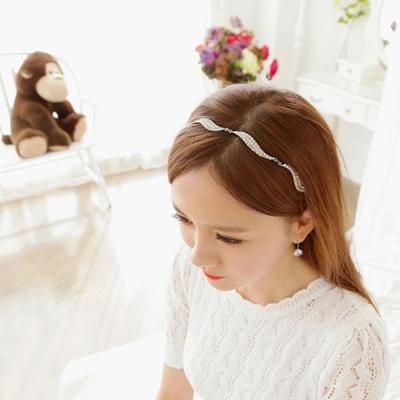 梨花HaNA-韓國美麗花嫁水鑽葉飾髮帶