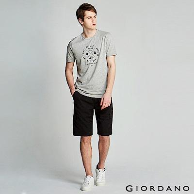 GIORDANO 男裝鬆緊腰綁帶口袋卡其短褲/工作褲-09 標誌黑