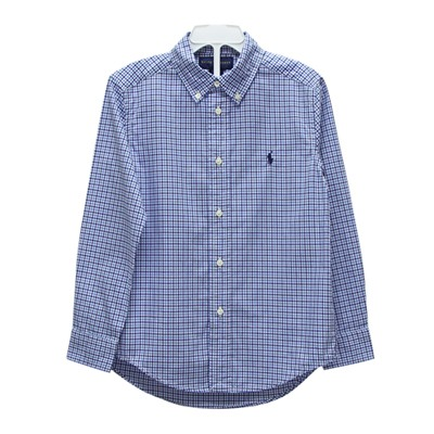 Ralph Lauren 男童刺繡小馬格子長袖襯衫-藍色(6歲)