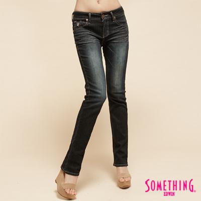 【SOMETHING】知性印象  NEO超合身窄直筒牛仔褲-女款(原藍磨)
