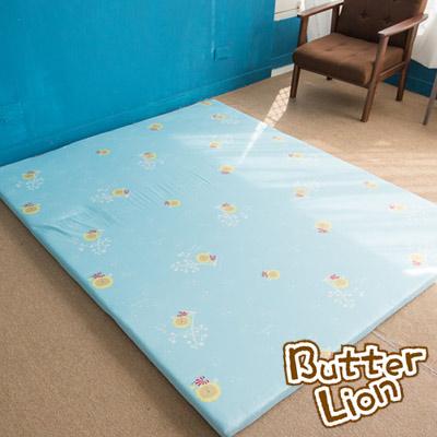 奶油獅 正版授權-台灣製造-葉語純棉紙纖三合一記憶床墊-單人<b>3</b>尺(水藍)