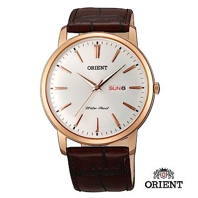 ORIENT 東方錶 CLASSIC DESIGN系列 日期星期顯示石英錶 皮帶款 玫瑰金
