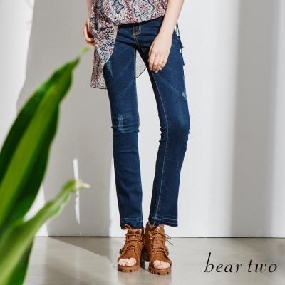 beartwo復古刷色破洞牛仔褲-藍色