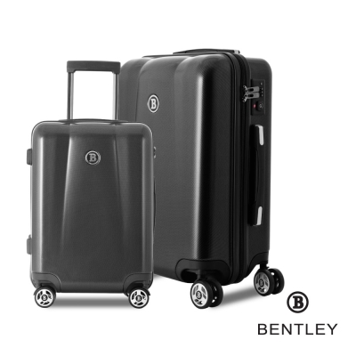 BENTLEY賓利 28吋+20吋 PC+ABS 碳纖維拉鍊款輕量行李箱 二件組-黑