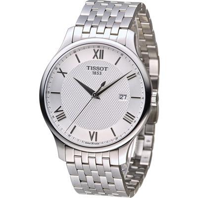 TISSOT 天梭 Tradition系列 懷舊古典時尚腕錶-銀/42mm