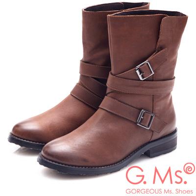 G.Ms. 擦色牛皮交叉皮帶釦中筒工程靴-咖啡