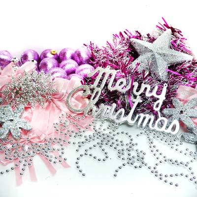 聖誕裝飾配件包組合~銀紫色系 (7尺樹適用)(不含聖誕樹)(不含燈)