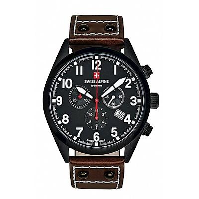 阿爾卑斯 S.A.M -獨家限定-指揮官系列三眼計時-黑錶殼/黑錶盤/皮帶/43mm