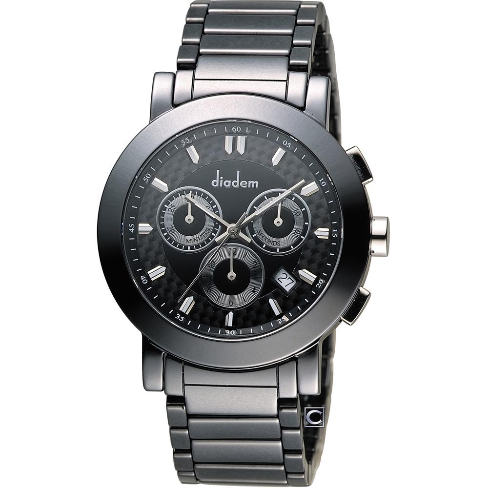Diadem 黛亞登 巴黎時尚計時陶瓷腕錶-黑/41mm
