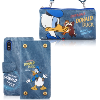 Disney迪士尼iPhone X 牛仔彩繪零錢包保護殼套組(活動可拆式)_唐老...