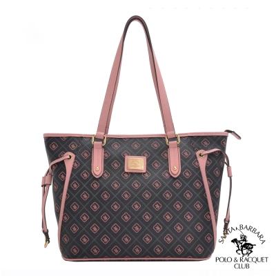 SANTA BARBARA POLO -粉紅摩登肩背配皮造型購物包