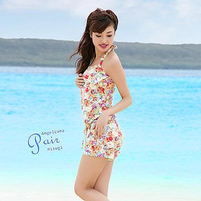 【AngelLuna日本泳裝】優雅印花三件式比基尼泳衣