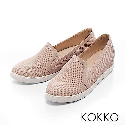 KOKKO -樂活自在真皮內增高休閒鞋-女孩粉