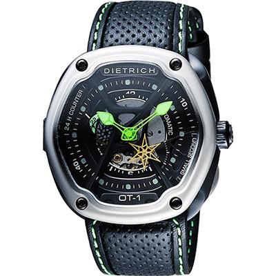 DIETRICH OT系列 生化機械鏤空腕錶-黑x綠指針/46mm