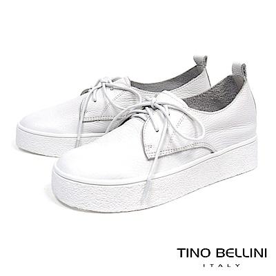 Tino Bellini 牛皮柔軟厚底綁帶休閒鞋_ 白