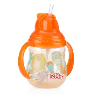 Nuby 卡拉雙耳彈跳吸管杯(360度吸管)270ml(幾何款)-橘(12m+)