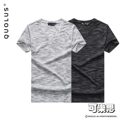 可樂思 麻花色系 V領 涼感 男生短袖T恤