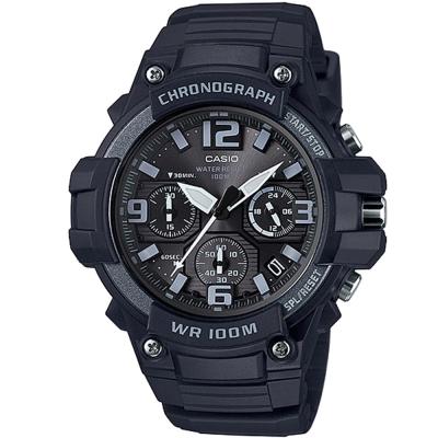CASIO 行家必備經典三眼指針運動錶(MCW-100H-1A3)-黑X深灰框49.3mm