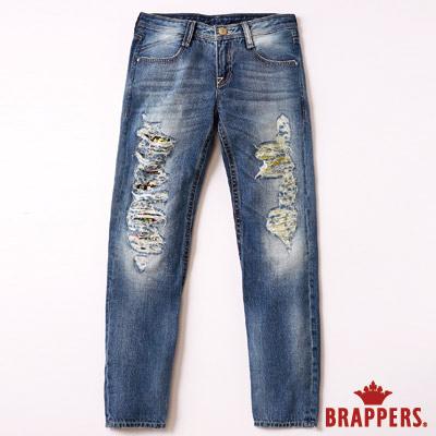 BRAPPERS Boy Friend Jeans系列-女用八分反摺褲-淺藍