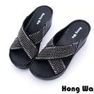 Hong Wa - 率性交叉水鑽貼飾休閒涼拖鞋 - 黑