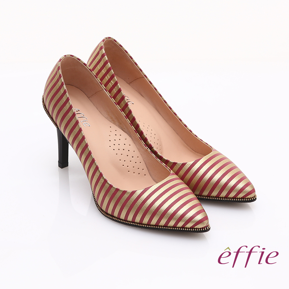 effie 時尚摩登 全真皮條紋窩心高跟鞋 桃紅