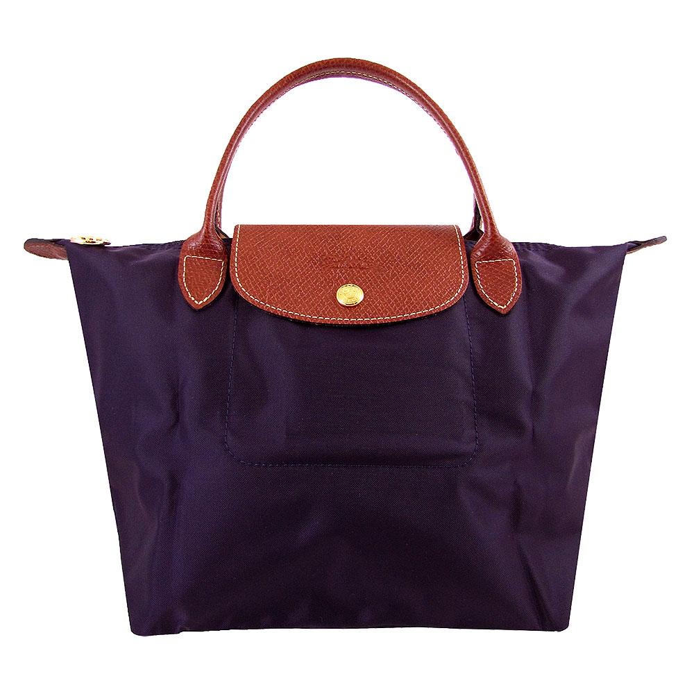 Longchamp短帶皮飾邊折疊水餃包(深紫色/小)LONGCHAMP