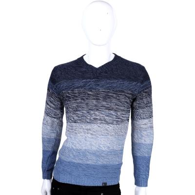 TRUSSARDI-JEANS 藍色漸層V領針織上衣
