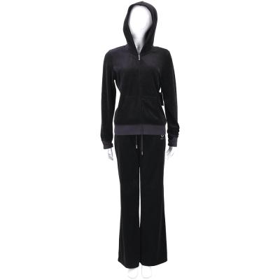 Juicy Couture 黑色水鑽燙銀字母天鵝絨連帽休閒套裝