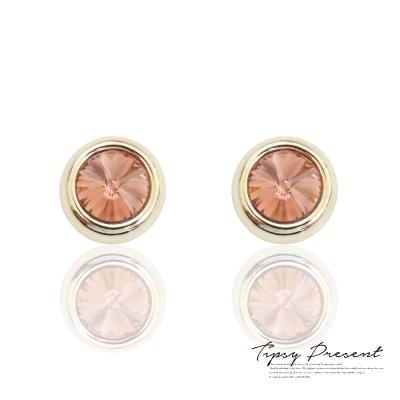 微醺禮物 耳夾 鍍白金 紫紅水鑽 尖頂 磁鐵夾式 無耳洞