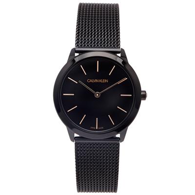 CK Calvin Klein 黑時尚風米蘭帶手錶(K3M22421)-黑面/34mm