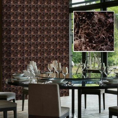 韓國進口DIY防水藝術瓷磚貼 壁貼 亮彩棕H 10片