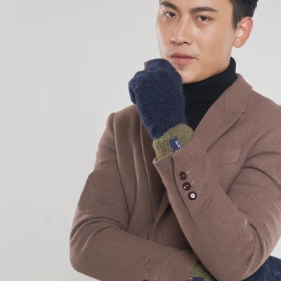 Seoul-Show-男女仿羊絨保暖針織觸控手套-深藍