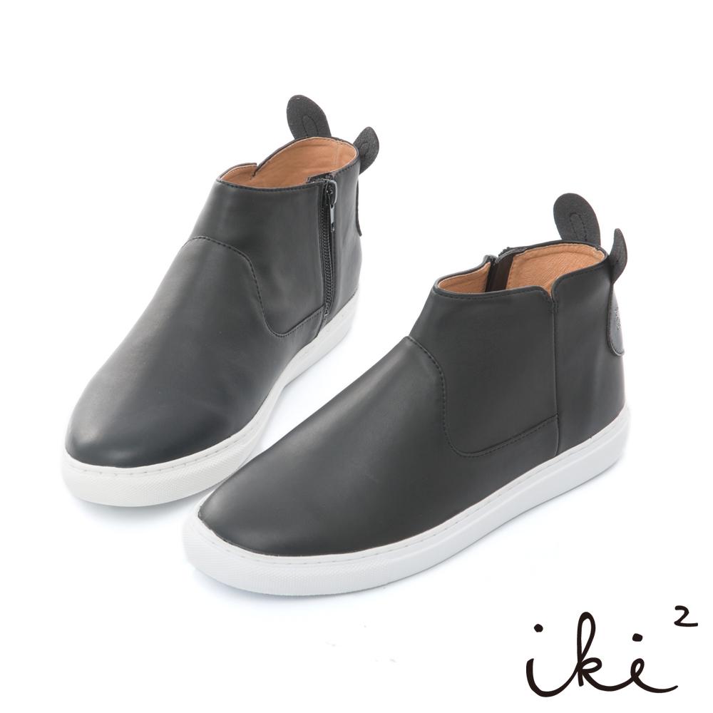 iki2 咕妮兔 內真皮親子造型百搭短靴-黑