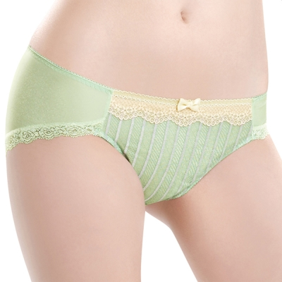 華歌爾-條紋好愛現系列M-LL低腰三角褲-清新綠