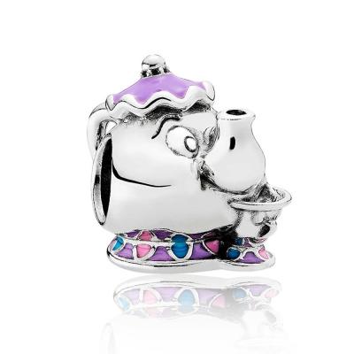 Pandora 潘朵拉  迪士尼系列茶壺夫人 琺瑯純銀墜飾 串珠