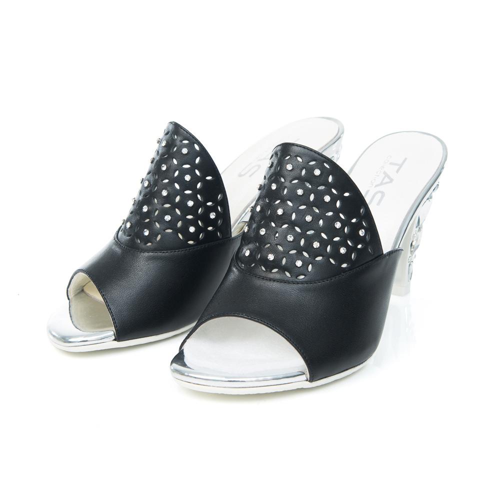 TAS 花瓣鏤空寶石鞋跟涼拖鞋-魅力黑