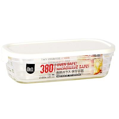 樂扣樂扣 P&Q輕鬆蓋耐熱玻璃盒-長方形380ML(白色)(快)