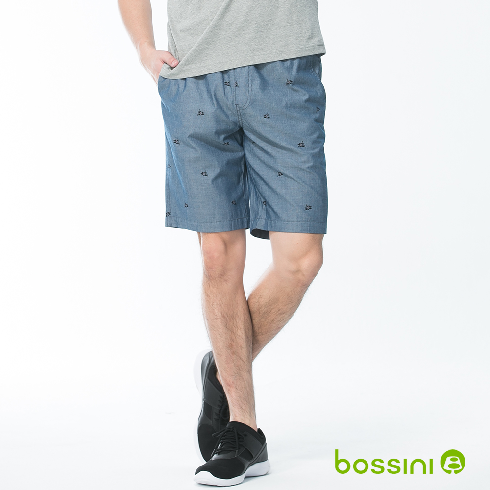 bossini男裝-印花輕便短褲02藍