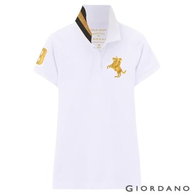 GIORDANO-女裝拿破崙3D刺繡彈性POLO衫-18-標誌白
