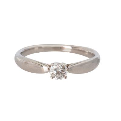 Tiffany&Co.PT950圓型六爪0.22克拉鑽石戒指10