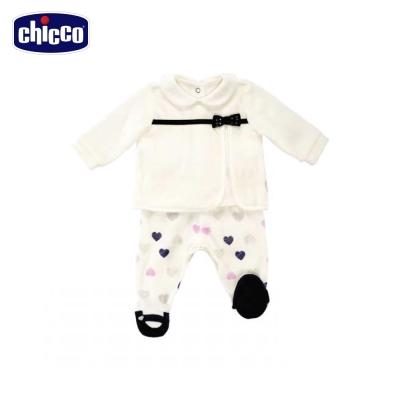 chicco甜心剪毛絨長袖套裝-丈青(3個月-12個月)