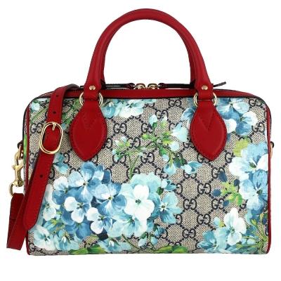 GUCCI BLOOMS 藍色花朵圖騰紅色飾邊防水帆布肩背/波士頓包