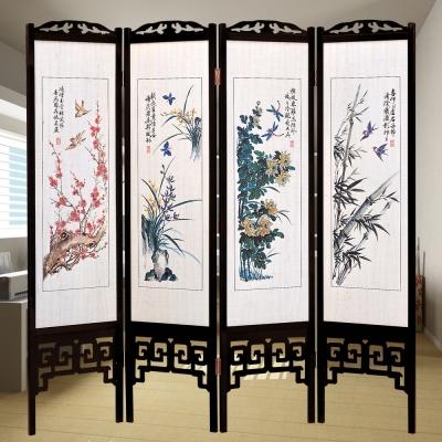 時尚屋 中國風國畫四季花彩色6尺雙面屏風 寬182cm 多色可選-免組